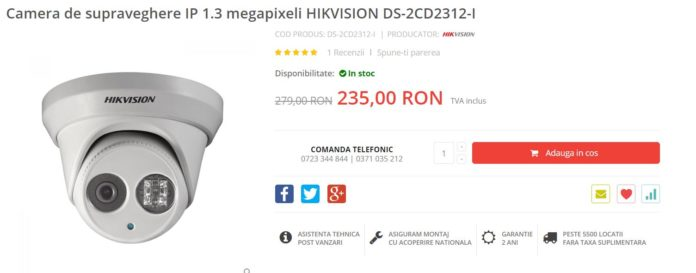 Camera de supraveghere IP 1.3 megapixeli HIKVISION DS-2CD2312-I